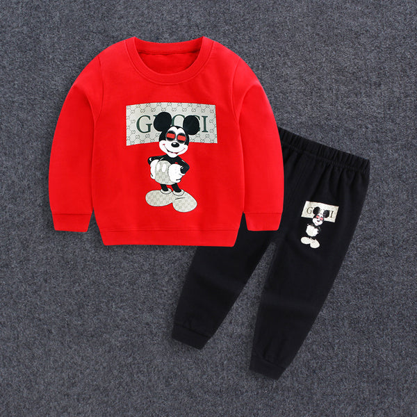 2017 Baby Boy Clothes winter Cartoon Boy Clothing Set Long sleeves Leisure boys t shirt+ Pant 2pcs kids clothes set