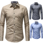 Men Long Sleeve Shirt 2018 Fashion Casual Shirts Oxford Textile