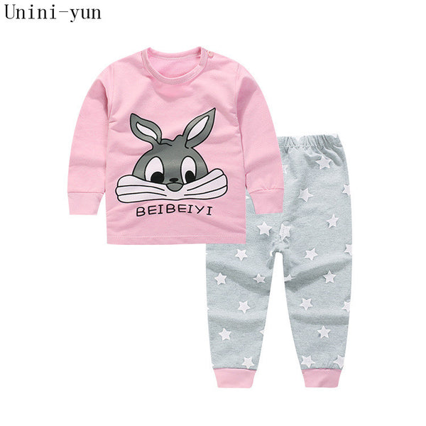High Quality 100% Cotton baby clothing set,Toddlers children set,baby boys girls 2 pcs Rabbit Print,Hot sale-Pink,6t5t4t3t24M12