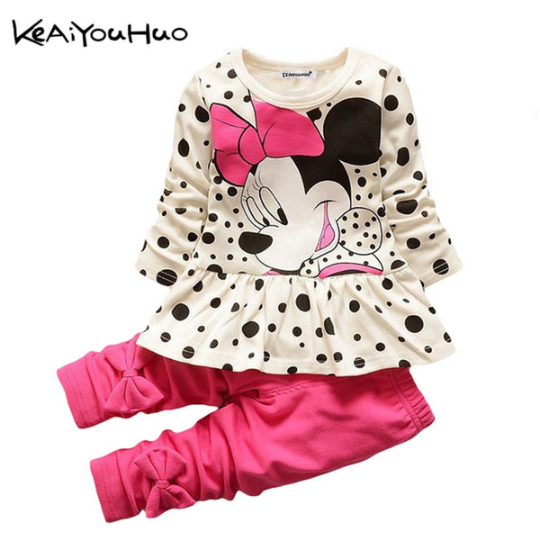 Summer Toddler Baby Girls Clothes Set T-shirt+Pants Outfits Kids Tracksuit Sport Suit For Girls Minnie Children Clothing Costume