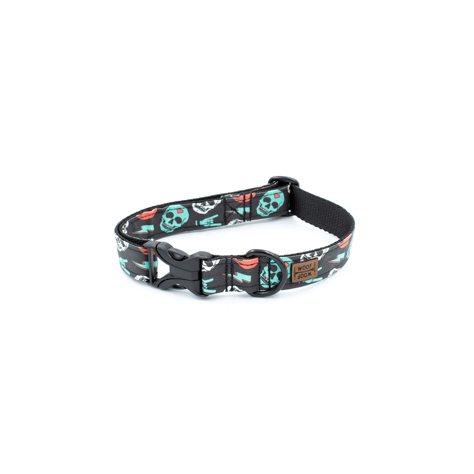 the woof woof too many skulls dog collar