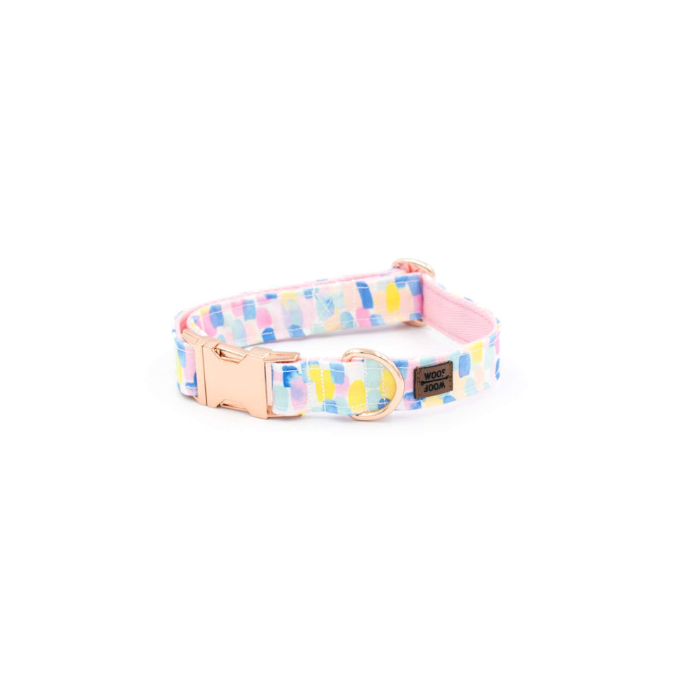 the woofwoof watercolor dog collar