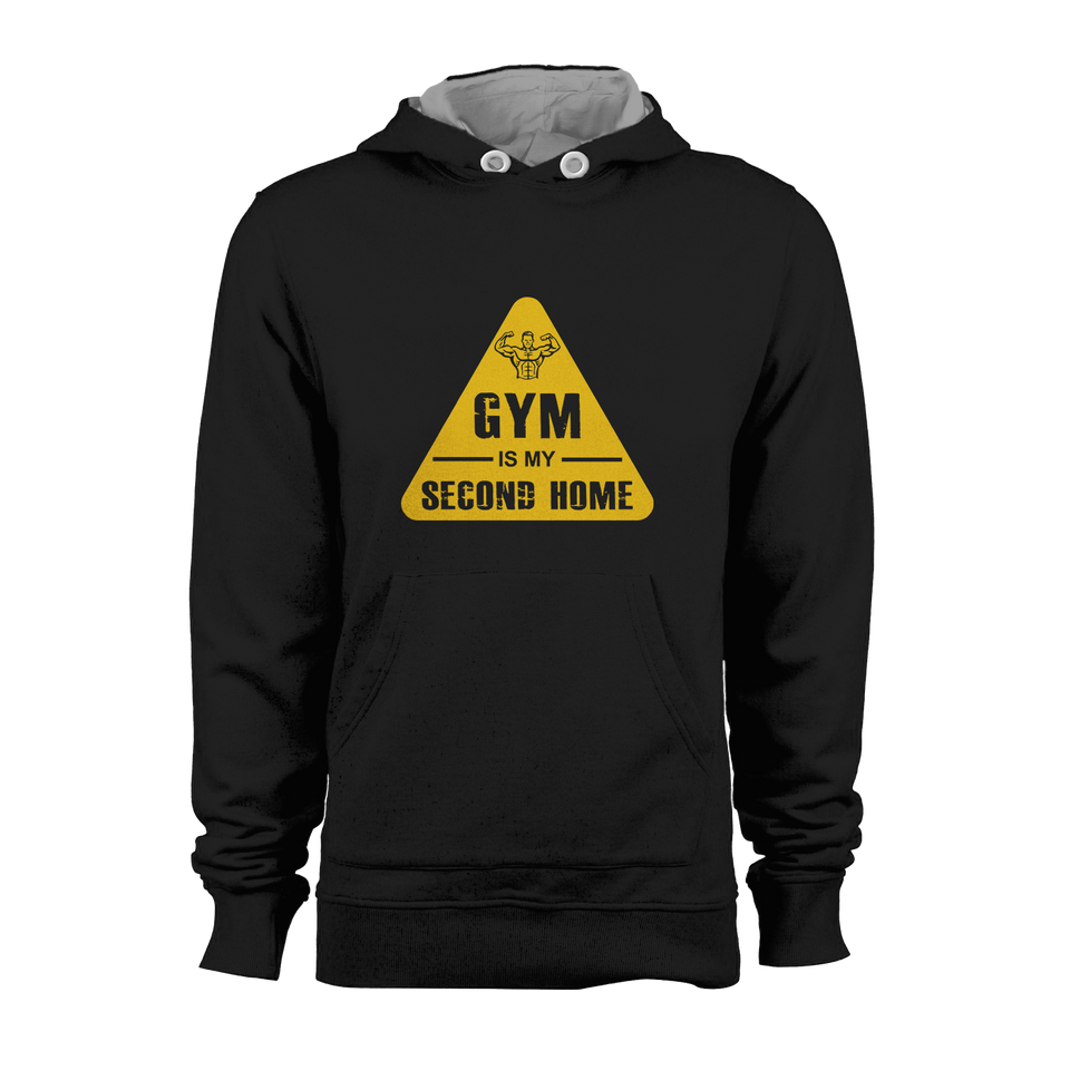 HOODIE - GYM IS 2ND HOME (BLACK-YELLOW)