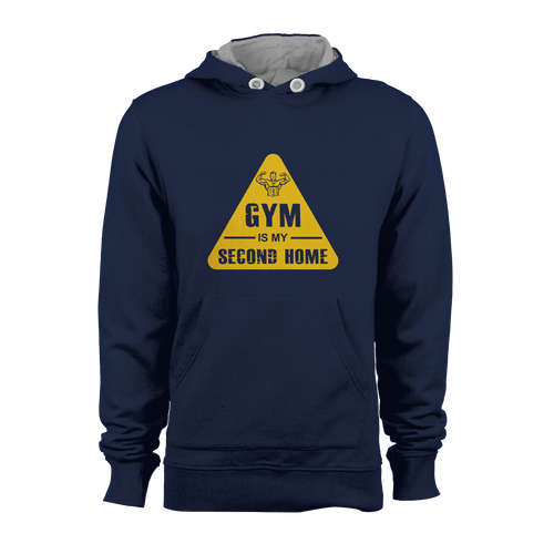 HOODIE - GYM IS 2ND HOME (NAVY-YELLOW)