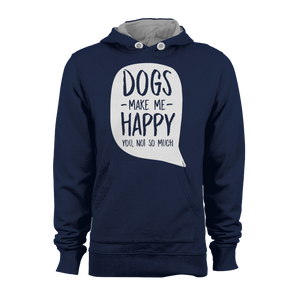 HOODIE - DOGS MAKE ME HAPPY (NAVY-WHITE)