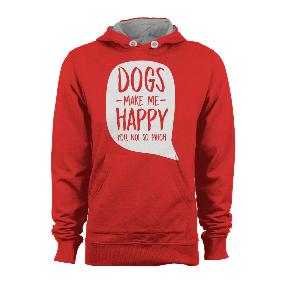 HOODIE - DOGS MAKE ME HAPPY (RED-WHITE)