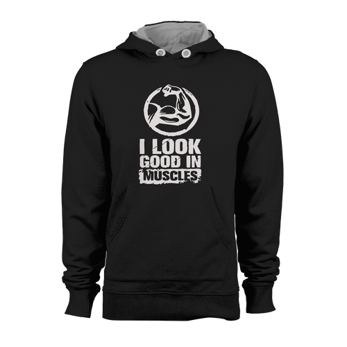 HOODIE - GOOD IN MUSCLES (BLACK-WHITE)