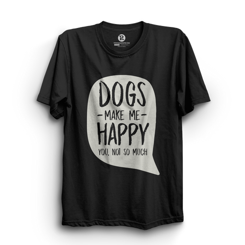 HS- DOGS MAKE ME HAPPY (BLACK-WHITE)