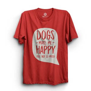 HS- DOGS MAKE ME HAPPY (RED-WHITE)