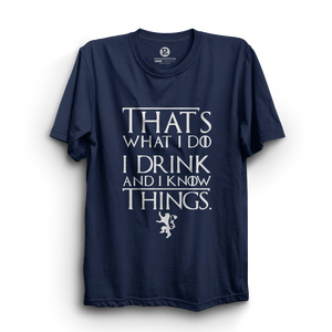 HS- I DRINK AND I KNOW THINGS (NAVY-WHITE)