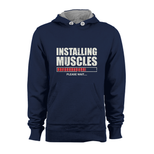 HOODIE - INSTALLING MUSCLES (NAVY-WHITE)