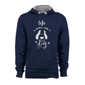 HOODIE - LIFE IS BETTER WITH A DOG (NAVY-WHITE)
