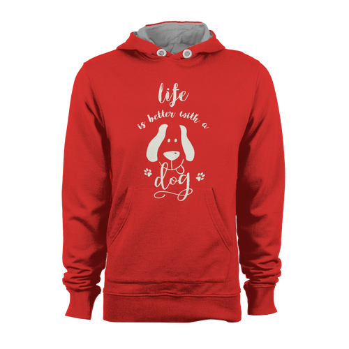 HOODIE - LIFE IS BETTER WITH A DOG (RED-WHITE)