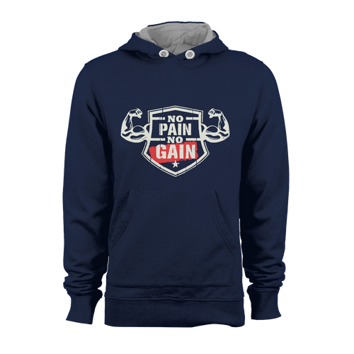 HOODIE - NO PAIN NO GAIN (NAVY BLUE)