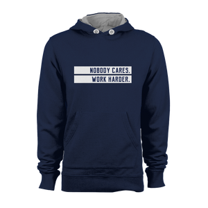 HOODIE - NOBODY CARES (NAVY-WHITE)