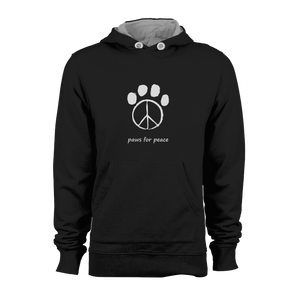 HOODIE - PAWS FOR PEACE (BLACK-WHITE)