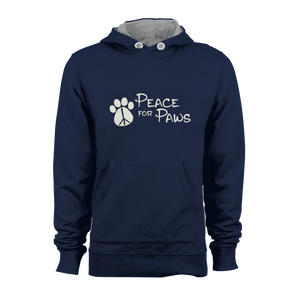 HOODIE - PEACE FOR PAWS (NAVY-WHITE)