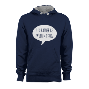 HOODIE - RATHER BE WITH MY DOG (NAVY-WHITE)