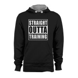 HOODIE - STRAIGHT OUTTA TRAINING (BLACK-WHITE)