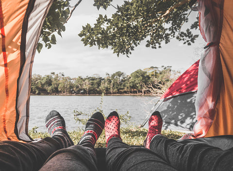 couples wear sock in camping