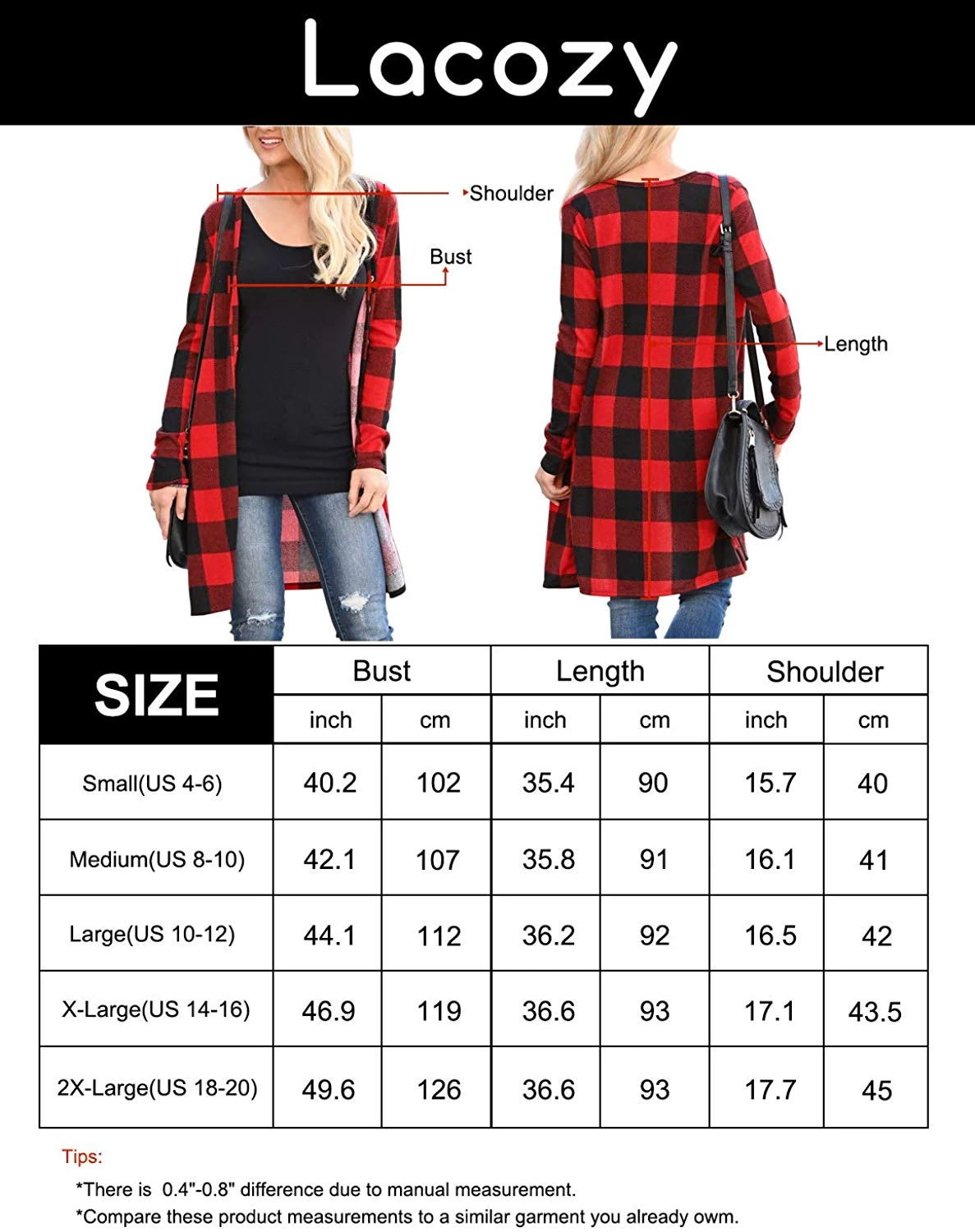 plaid checker cardigan size chart