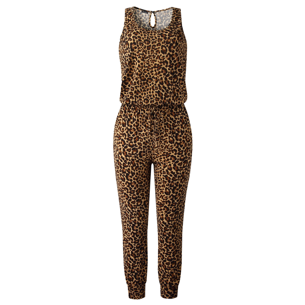 Bolebon Women Sleeveless Leopard Print Long Pants Jumpsuit Casual Elastic Waist Rompers with Pockets