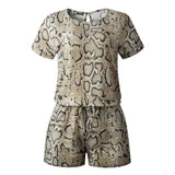 Samaud Women Summer Casual Short Sleeve keyhole Back Rompers Jumpsuit With Elastic Waist