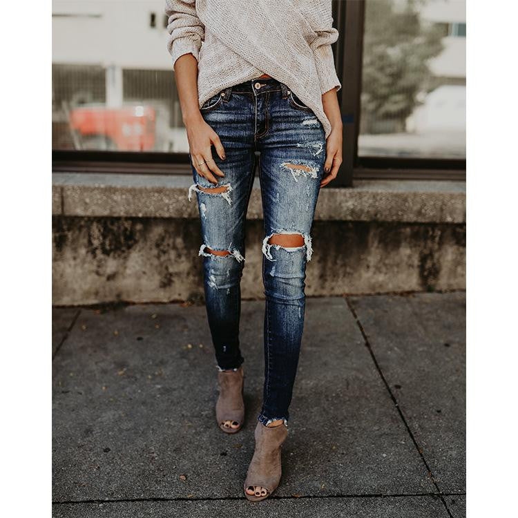 Vintage Ripped Hole Women Jean - Nikkiaz
