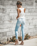 Raw Hem Distressed Jean - Nikkiaz