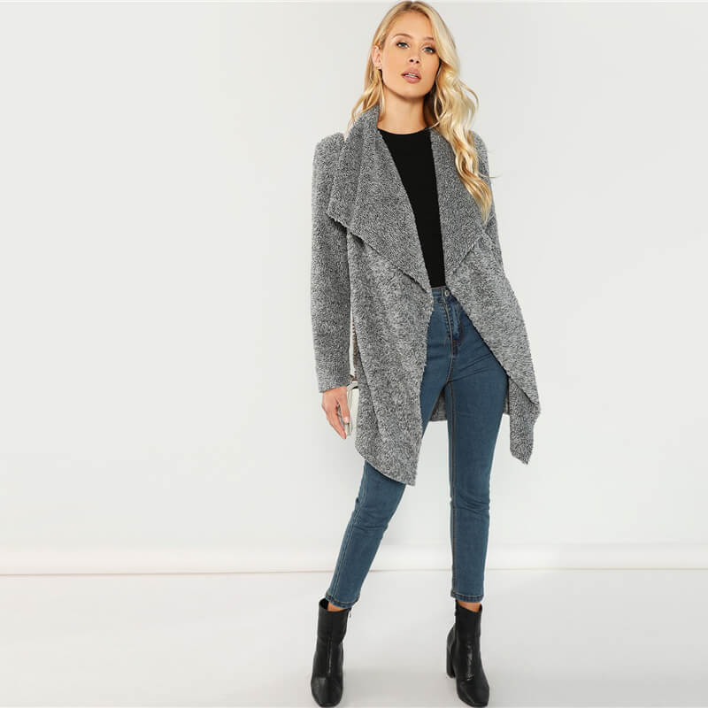 Elegant Grey Solid Teddy Coat - Nikkiaz