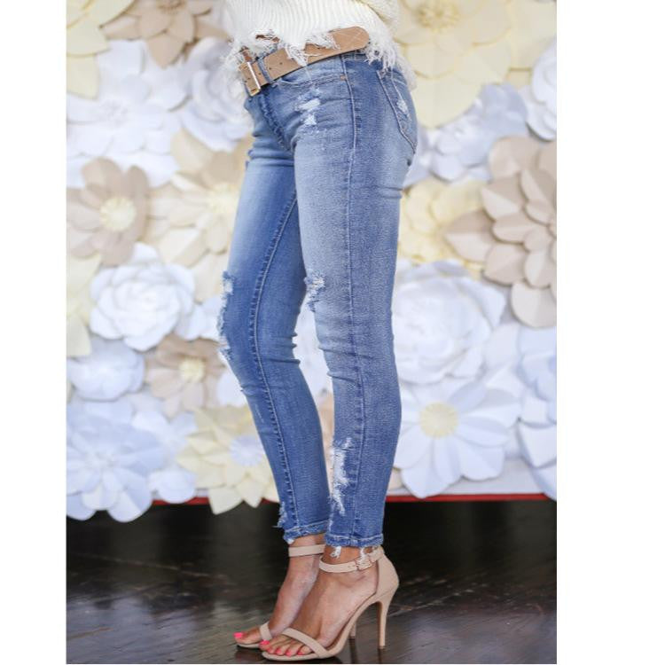 Ripped Hole Casual Women Jean - Nikkiaz