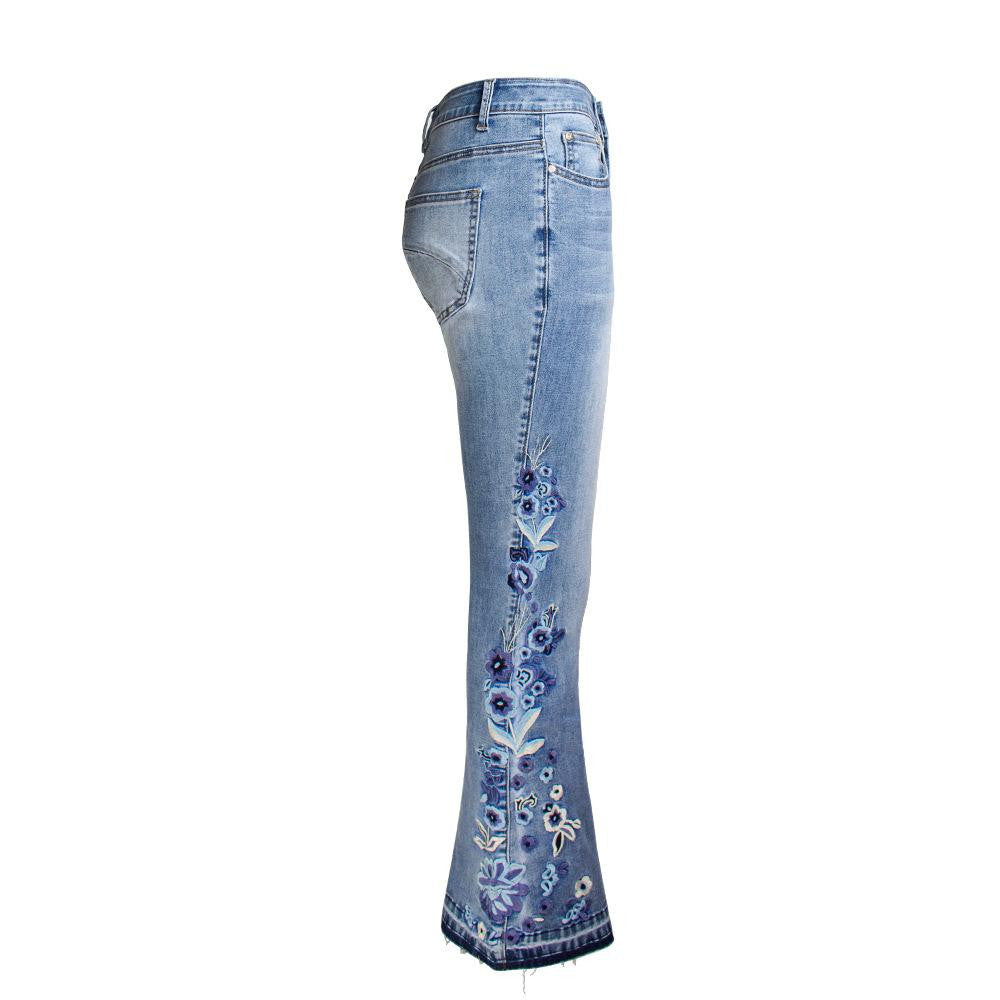Floral Embroidered Bell Bottom Jean - Nikkiaz