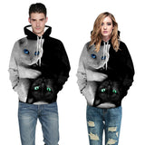 White and Black Cool Couple's Cat Hoodies - Nikkiaz
