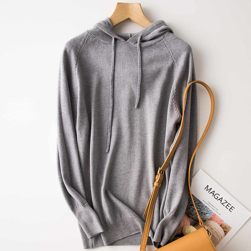 Women's Cashmere Sweater Hoodie Loose Bottoming Sweater - Nikkiaz