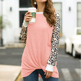 Leopard Print Twisted Long-sleeved T-shirt Round Neck Loose Top - Nikkiaz