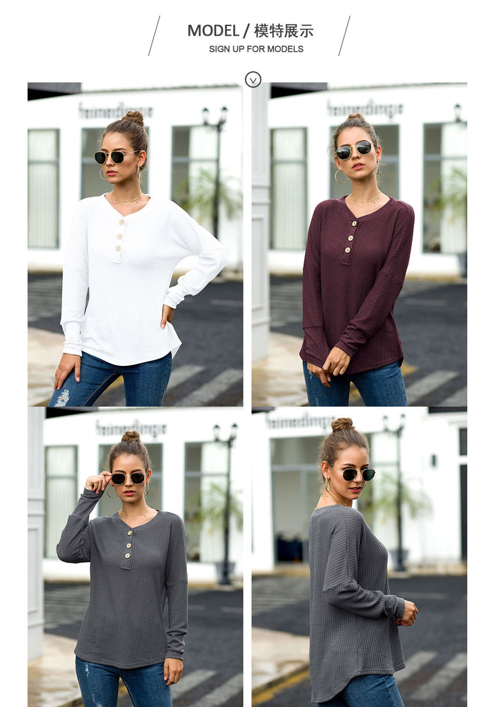 V-neck Button Casual Women Sweatshirt - Nikkiaz