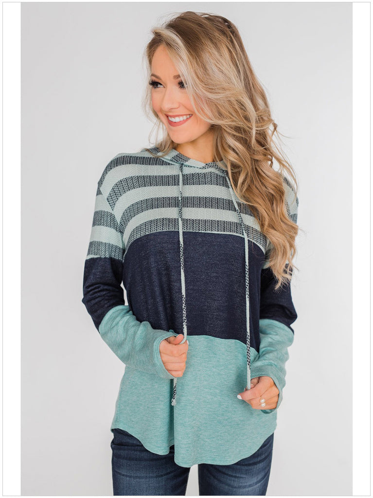 Loose Design Hoodie Pullover Long Sleeve Contrast Sweater - Nikkiaz