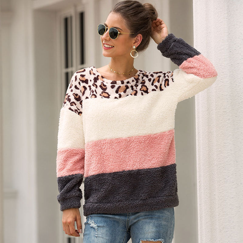 Fashion Leopard Stitching Pullover Sweater - Nikkiaz