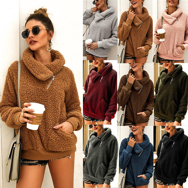 Autumn and Winter High Collar Solid Color Padded Sweatshirt - Nikkiaz