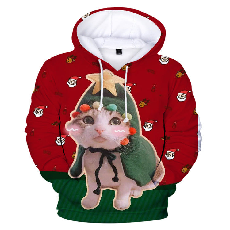 3D Printed Christmas Kitty Red Hoodies - Nikkiaz