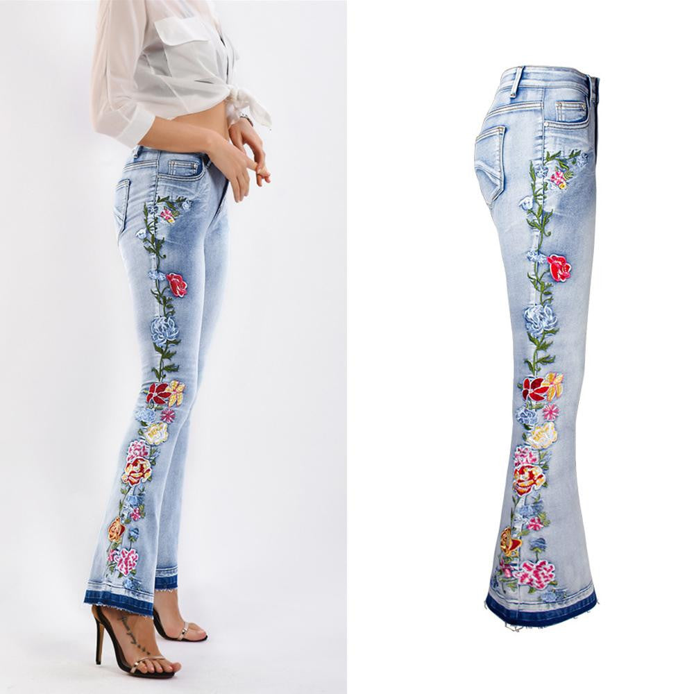 Classic Mid Rise Embroidered Jean - Nikkiaz