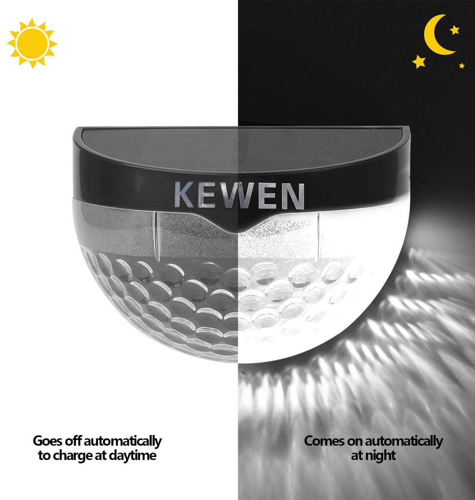 KEWEN Solar Lights Outdoor Solar Fence Lights Semi-circle Wall Mount Decorative Black