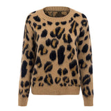 Leopard Pullover Sweater Plus Size