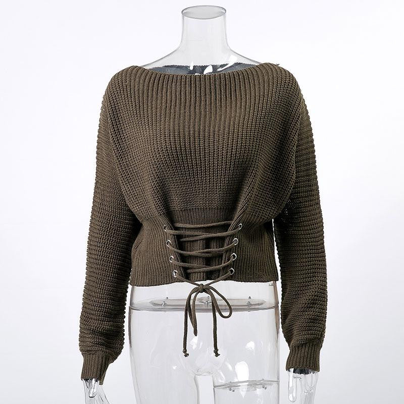 Lace Up Knitted Pullover Sweater - Nikkiaz