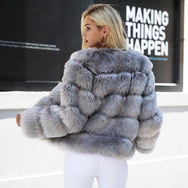 Vintage fluffy faux fur coat - Nikkiaz
