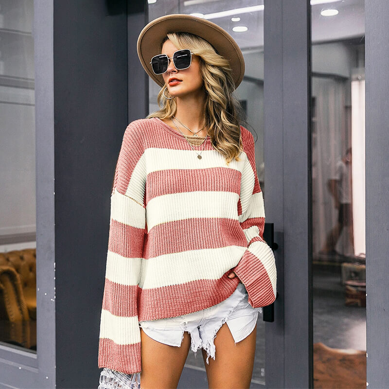 Striped Knitted Color Block Sweater Pullovers - Nikkiaz