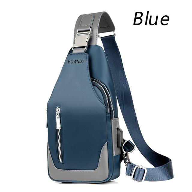 BOWNDY Men's Messenger Bag Shoulder Bag Oxford Fabric Chest Bag Messenger Casual Messenger Bag Male USB Charging Multifunctional Handbag