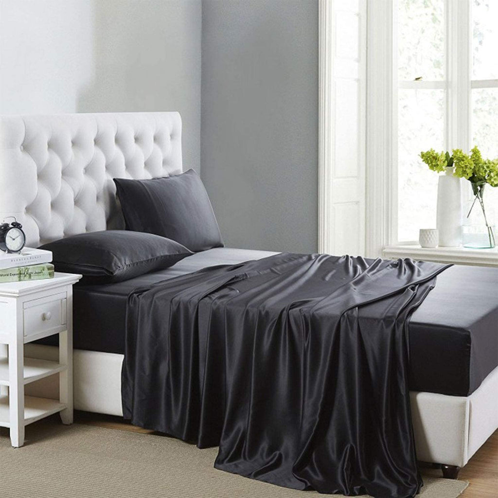 Cobedzy 4 Piece Black Satin Sheets Full Size Silk Satin Bedding Sheets Set with 1 Deep Pocket Fitted Sheet , 1 Flat Sheet ,2 Pillowcase
