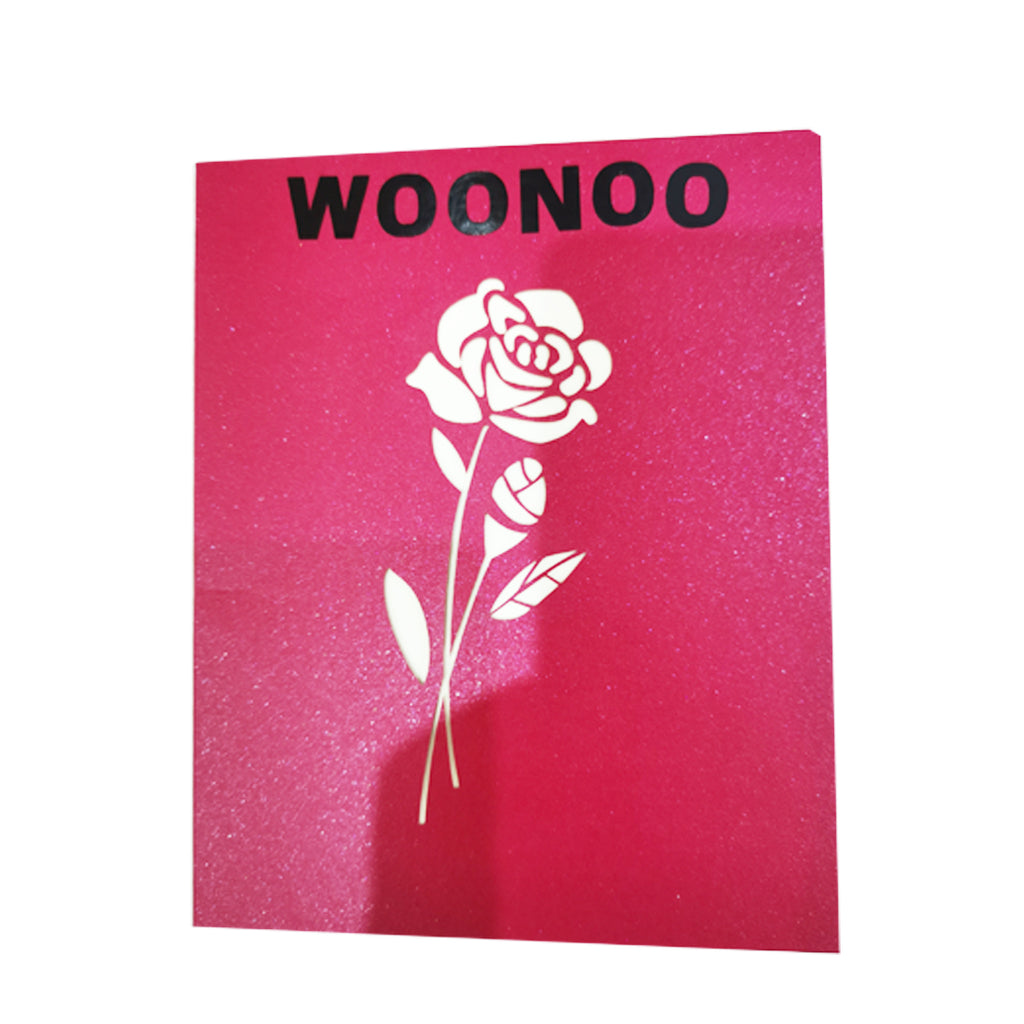 WOONOO Rose Pop Up Card, 3D Red Rose Bloom Flower Greeting Card Handmade Cards With Envelope for Valentine's day, Mother's day, Mom, Daughter, Anniversary, Wedding, Birthday