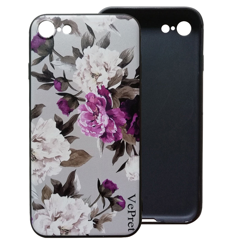 VePret Compatible iPhone 8 Case, Floral Flower Slim Fit  Matte Finish Girls Women Soft TPU Case with Flowers Roses for iPhone 8, Pink/Gray